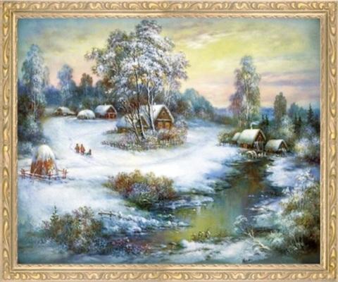 Алмазная Мозаика 50x65 Приближение весны в деревне