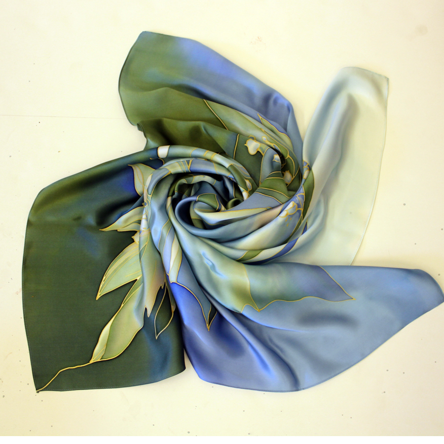 Шелковый платок батик Ландыши летние С-60