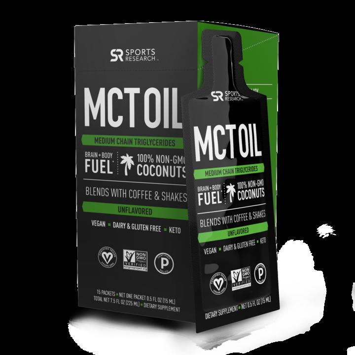 Масло с жирными кислотами МСТ, MCT Oil Premium, Sports Research, 15 пакетиков (15ml)