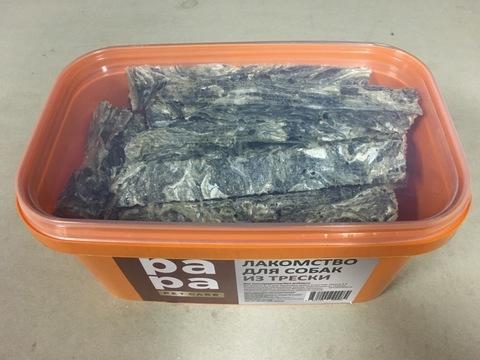 Рыбный снэк из высушенной кожи трески, для собак всех пород 0,6 кг.