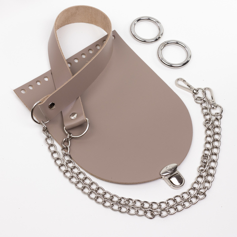 """Комплект для сумочки Орео """"Мускат"""". Ручка с цепочкой и замок """"Круг микро"""""""
