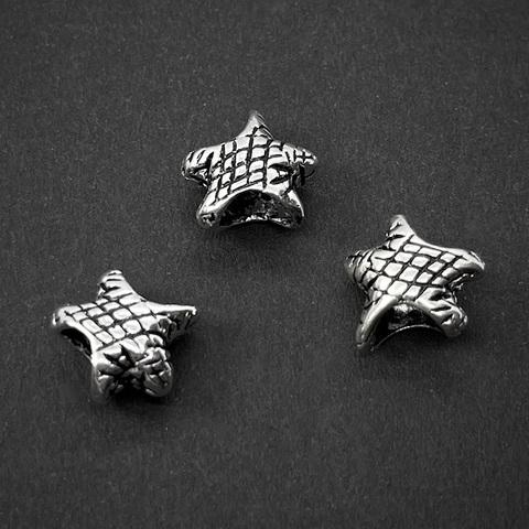 Бусина Звезда 10 мм серебро 925