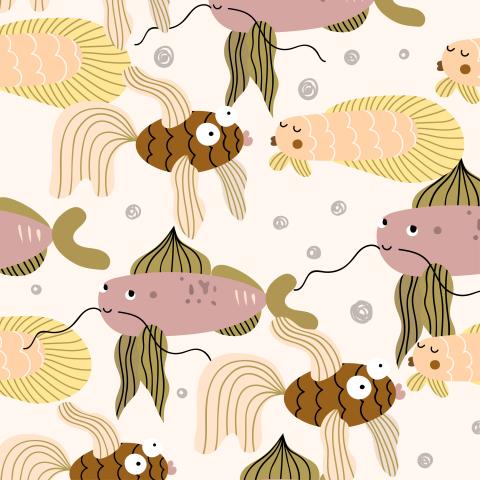 Милые рыбки на светлом фоне