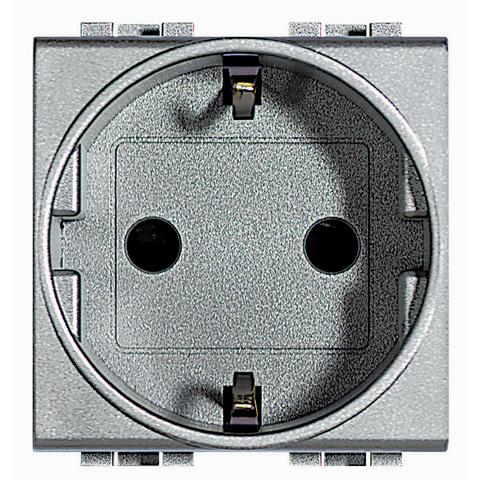 Розетка 2К+З, 10/16 А 250 В с заземляющими контактами Schuko, с защитными шторками, 2 модуля. Цвет Алюминий. Bticino Livinglight. NT4141