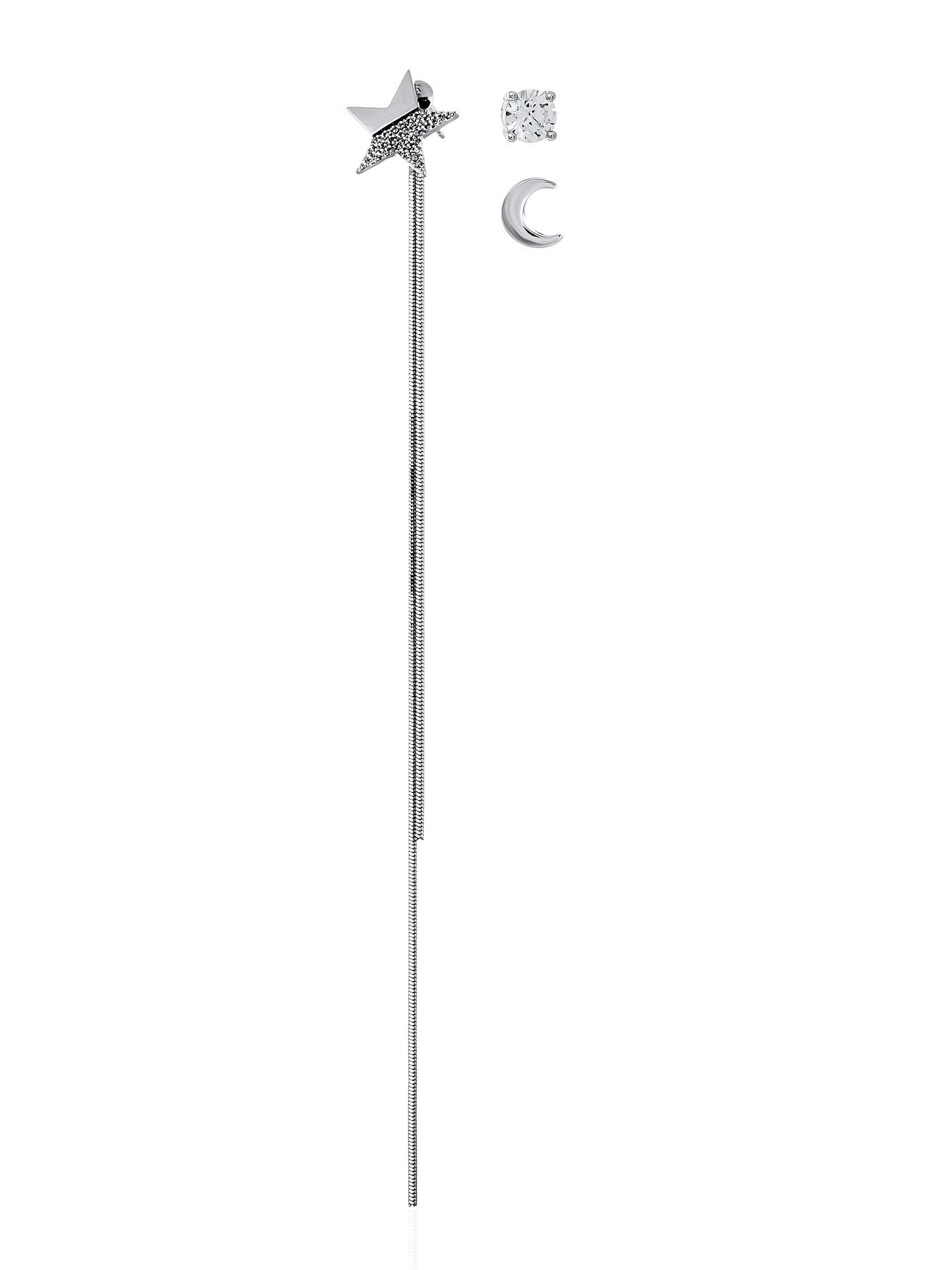 Стильный набор, асимметричные серьги, Луна, Полумесяц, серьги-пусеты в подарочной коробке