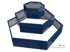 Клумба многоугольная оцинкованная Альпийская горка 3 яруса RAL 5005 Сигнальный синий