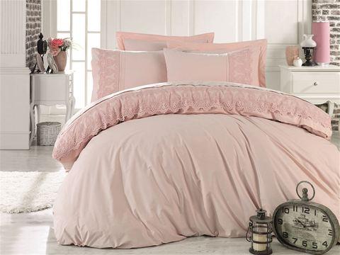 Комплект постельного белья DANTELA VITA ранфорс с гипюром GIZEM (Евро) цвет пудра