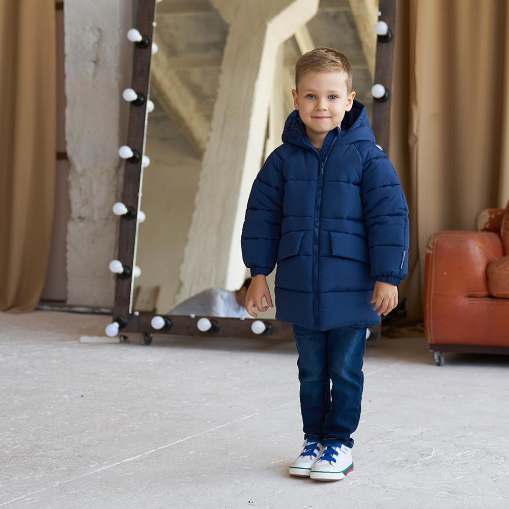 Дитяча подовжена зимова куртка в синьому кольорі для хлопчика