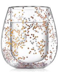 Cтакан с двойными стенками со звездочками для кофе и чая стеклянный 240 мл