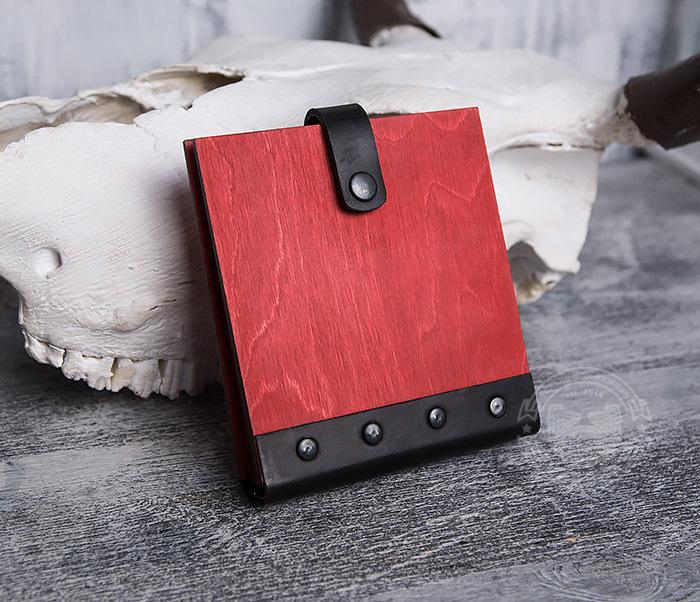 BC127-4 Небольшой деревянный блокнот красного цвета, ручная работа фото 05