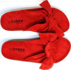 Мягкие шлепанцы женские с бантом Comer SAR-15 Red.