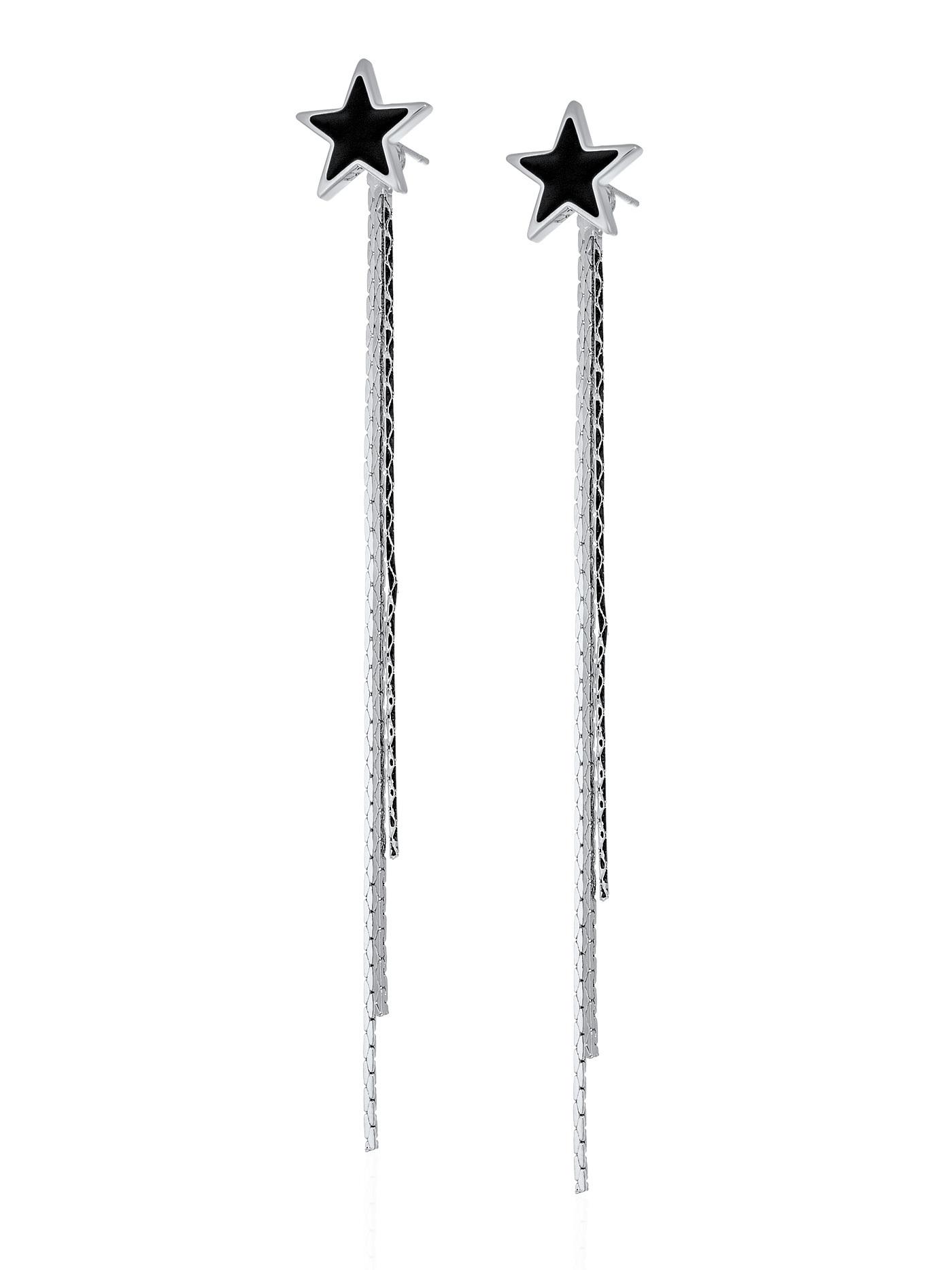 Длинные серьги-трансформеры с подвесками Звезды в подарочной коробке