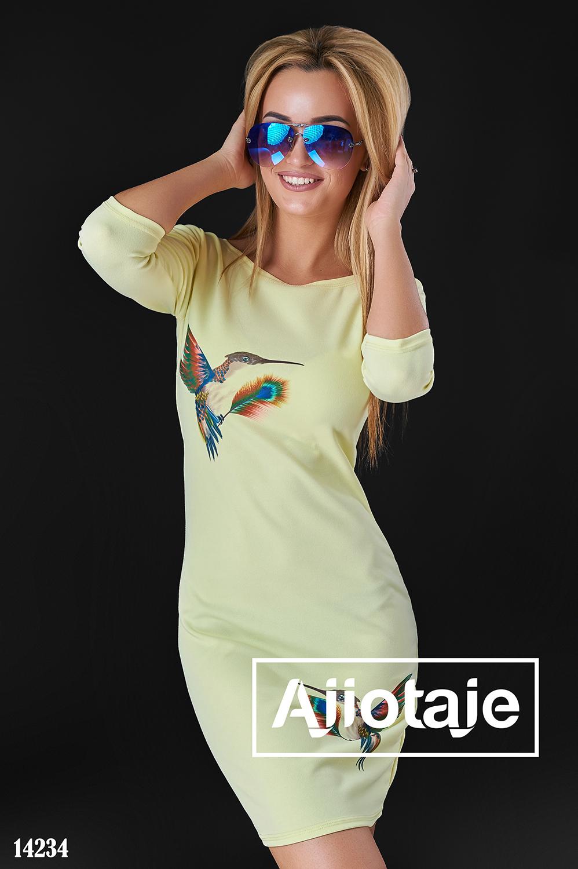 Весеннее платье желтого цвета с колибри