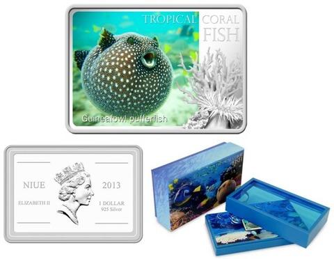 """1 доллар """"Белоточечный аротрон"""". Тропические рыбы. 2013 год. В аквариуме"""