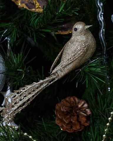 Новогодняя игрушка. Птица цвета розового золота.