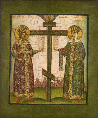 Икона святые Константин и Елена на дереве на левкасе мастерская Иконный Дом