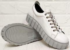 Женские кожаные кеды туфли на плоской подошве Guero G146 508 04 White Gray.