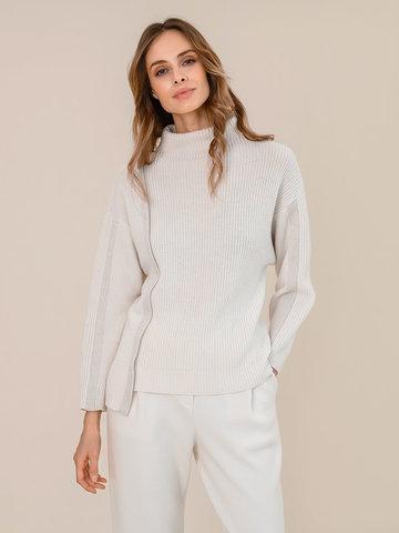 Женский свитер молочного цвета из шерсти и кашемира - фото 2