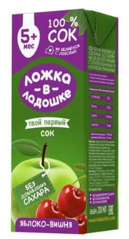 Белорусский детский сок Яблоко-вишня 200мл. Ложка в ладошке - купить с доставкой на дом по Москве и всей России