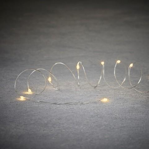 Новогодняя светодиодная гирлянда теплый белый свет на батарейках и серебряном проводе