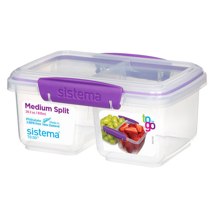 """Контейнер пищевой Sistema """"TO GO"""", двойной, 835 мл, цвет Фиолетовый"""