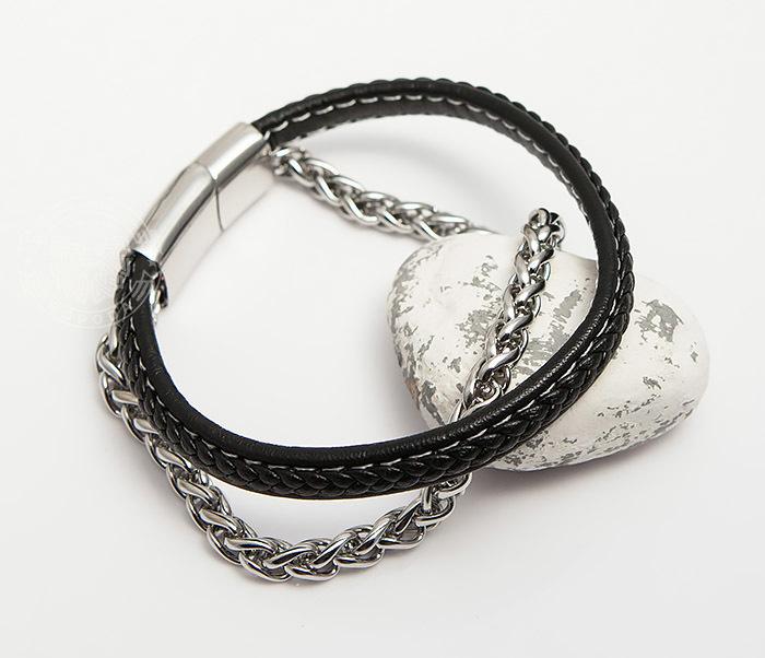 BM421 Оригинальный браслет из кожи и стальной цепочки (20,5 см) фото 04