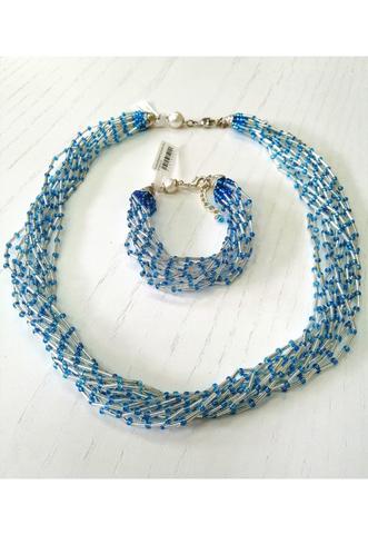 Комплект бисерный голубой Facilità