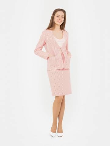 Фото розовая костюмная юбка в горошек с тонким поясом - Юбка Б100-796 (1)
