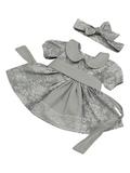 Платье хлопковое кружево принт - Серый. Одежда для кукол, пупсов и мягких игрушек.