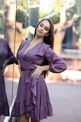 Сиреневое платье в горох nadya
