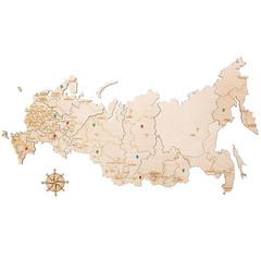 Карта России из дерева White фото 1