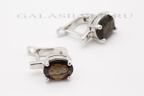 Серьги с раухтопазом из серебра 925
