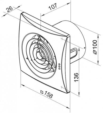 Накладной вентилятор VENTS 100 QUIET Black (Черный)