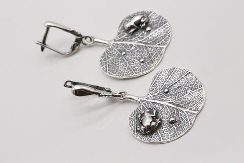Серьги из серебра без камней Литва СИ-А1913300840