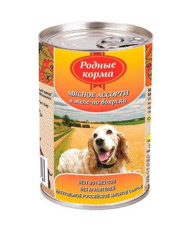 Родные Корма консервы для собак мясное ассорти в желе по-боярски 410 г