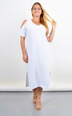Ніла. Довга сукня з вирізами на плечах. Білий.