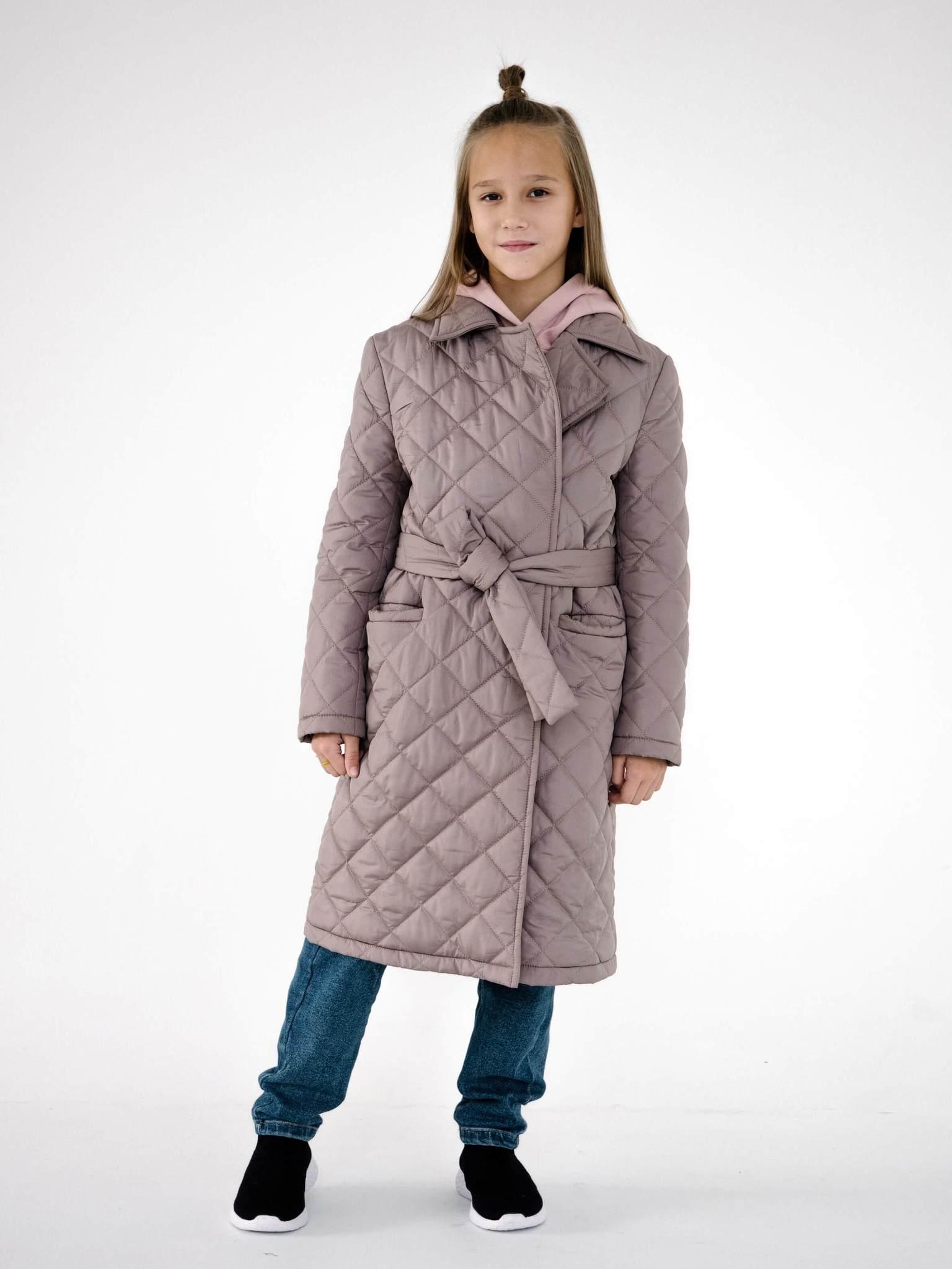 Детское стеганое пальто на поясе