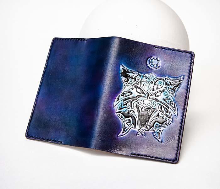 BC224 Обложка с волком в кельтском стиле, ручная роспись фото 06