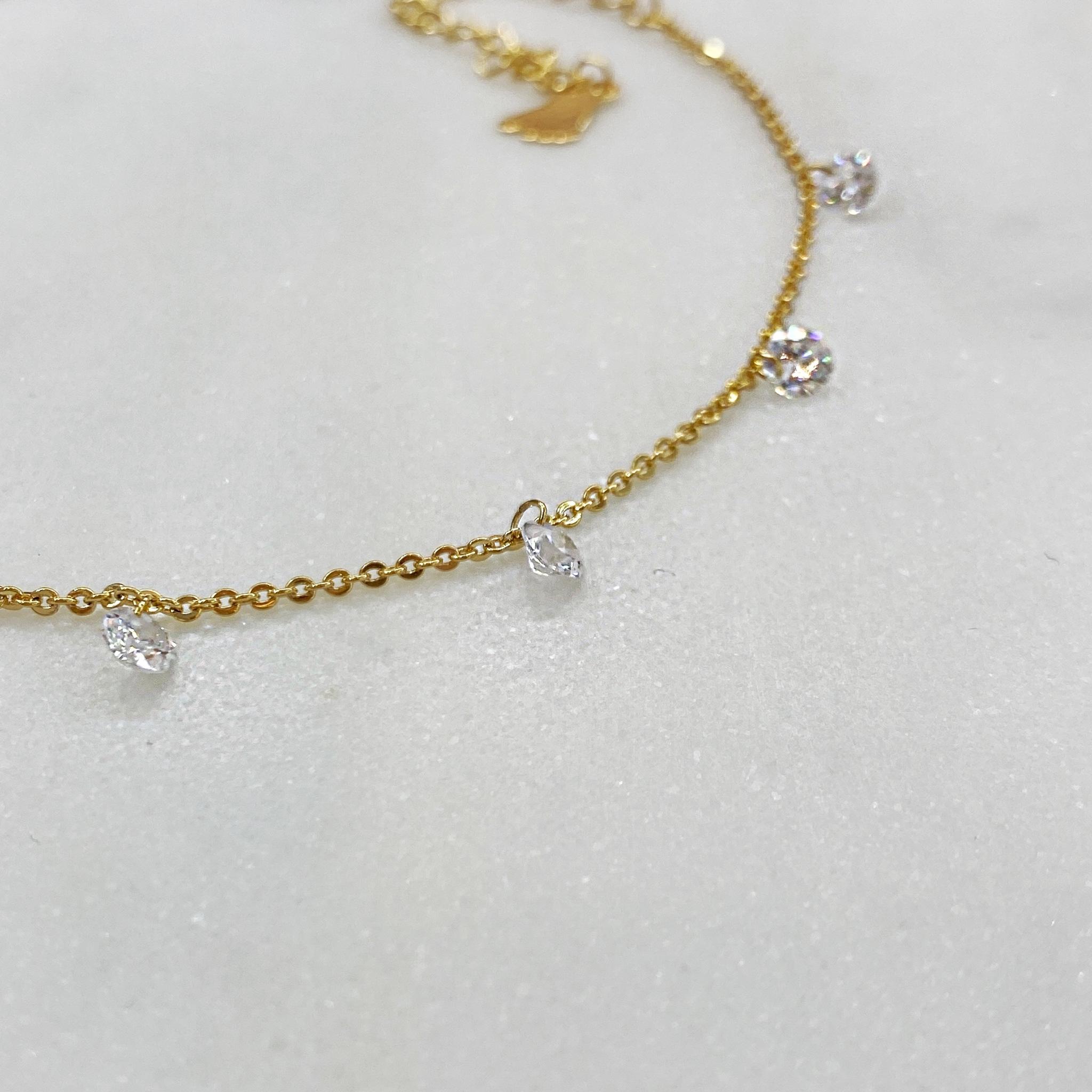 Анклет с круглыми кристальными подвесками (золотистый)