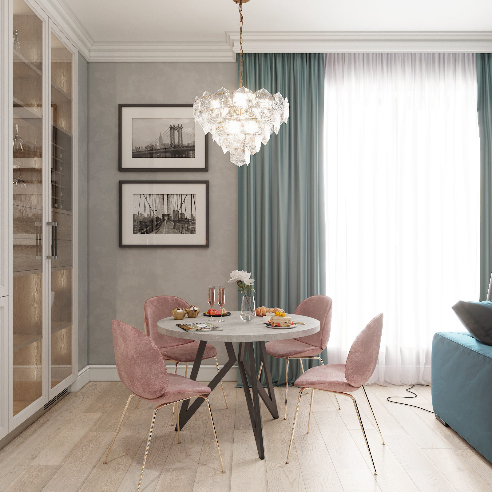 Обеденный стол ДОМУС Оригами-1 бетон серый/металл черный