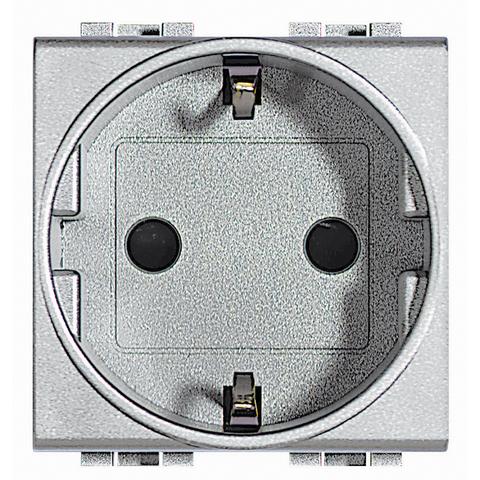 Розетка 2К+З, 10/16 А 250 В с заземляющими контактами Schuko,клеммы с автоматическим зажимом, с защитными шторками, 2 модуля. Цвет Алюминий. Bticino Livinglight. NT4141AN