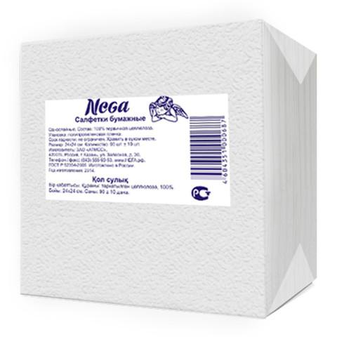 Салфетки бумажные Nega 24x24 см белые 1-слойные 90 штук в упаковке