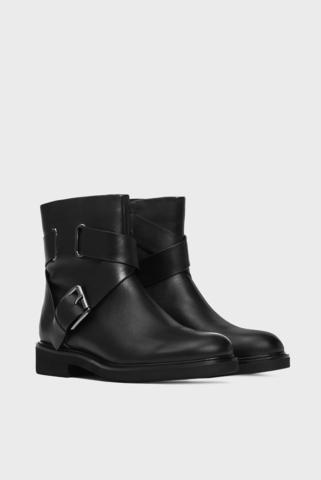 Женские черные кожаные ботинки Sulli Preppy