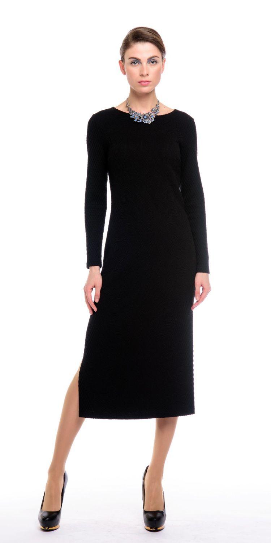 Платье З137-418 - Эффектное жаккардовое платье с графичным рисунком, сужающимся в области талии, что зрительно стройнит фигуру. Ткань производства Италии.