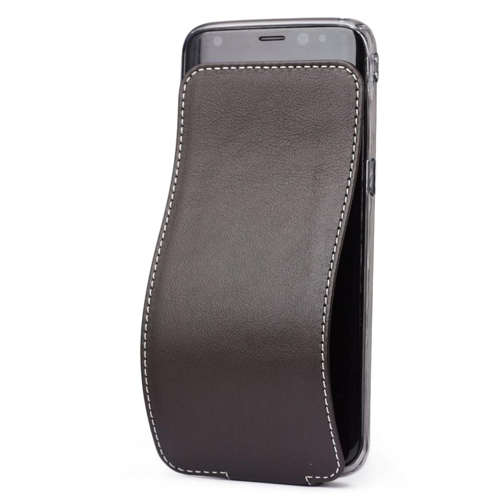 Чехол для Samsung Galaxy S8 Plus из натуральной кожи теленка, темно-коричневого цвета