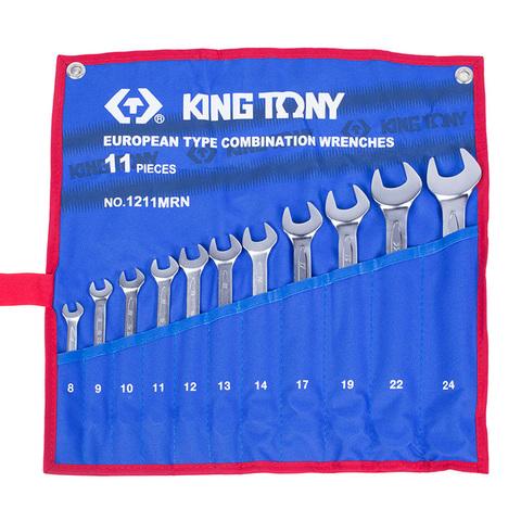 KING TONY (1211MRN) Набор комбинированных ключей, 8-24 мм, 11 предметов