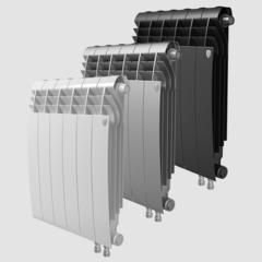 Биметаллический радиатор с правым нижним подключением Royal Thermo Biliner 500 V Silver Satin (серебристый)- 8 секций