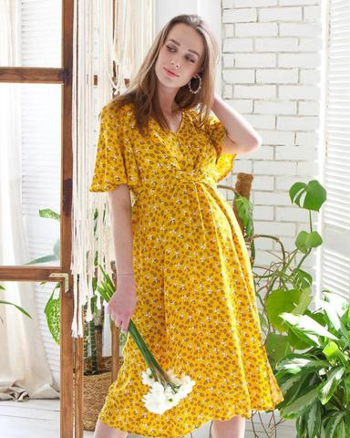 Платье миди для беременных и кормящих принт цветы на желтом