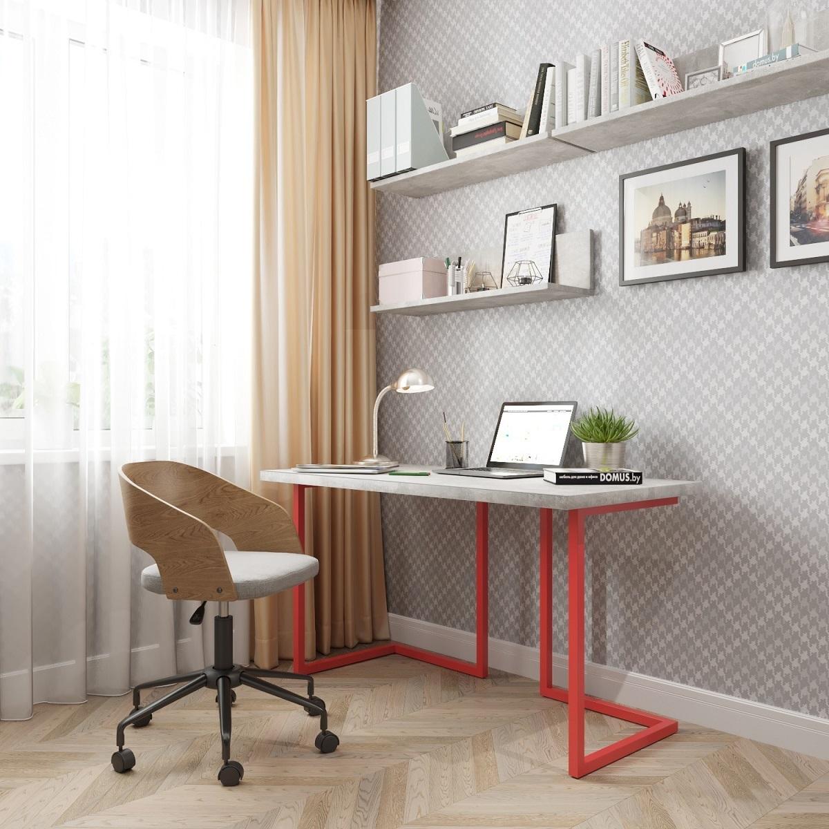 Письменный стол ДОМУС Урбан-1 бетон серый/металл красный