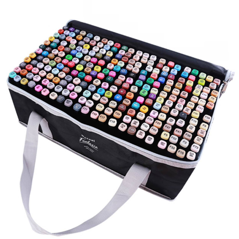 Mazari Fantasia набор маркеров для скетчинга 262 шт в сумке пенале - двусторонние спиртовые пуля/долото 3.0-6.2 мм (вкл. 2 блендера)